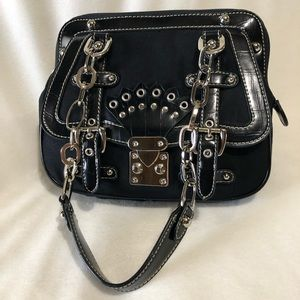 Handbags - BLACK BAG synthetic leather and soft fabric